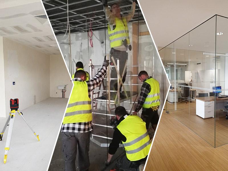 Opis naszej pracy- montowania szklanych ścianek i drzwi