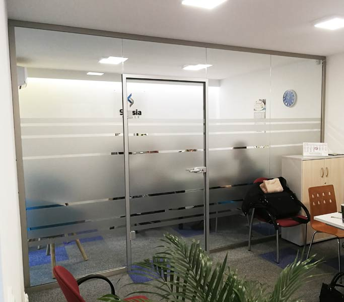 ścianki akustyczne szklane